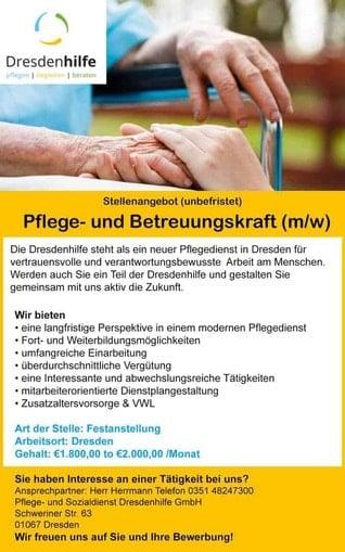 Stellenangebot Pflege- und Betreuungskraft (m/w)